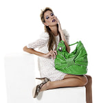 woman with green Handbags